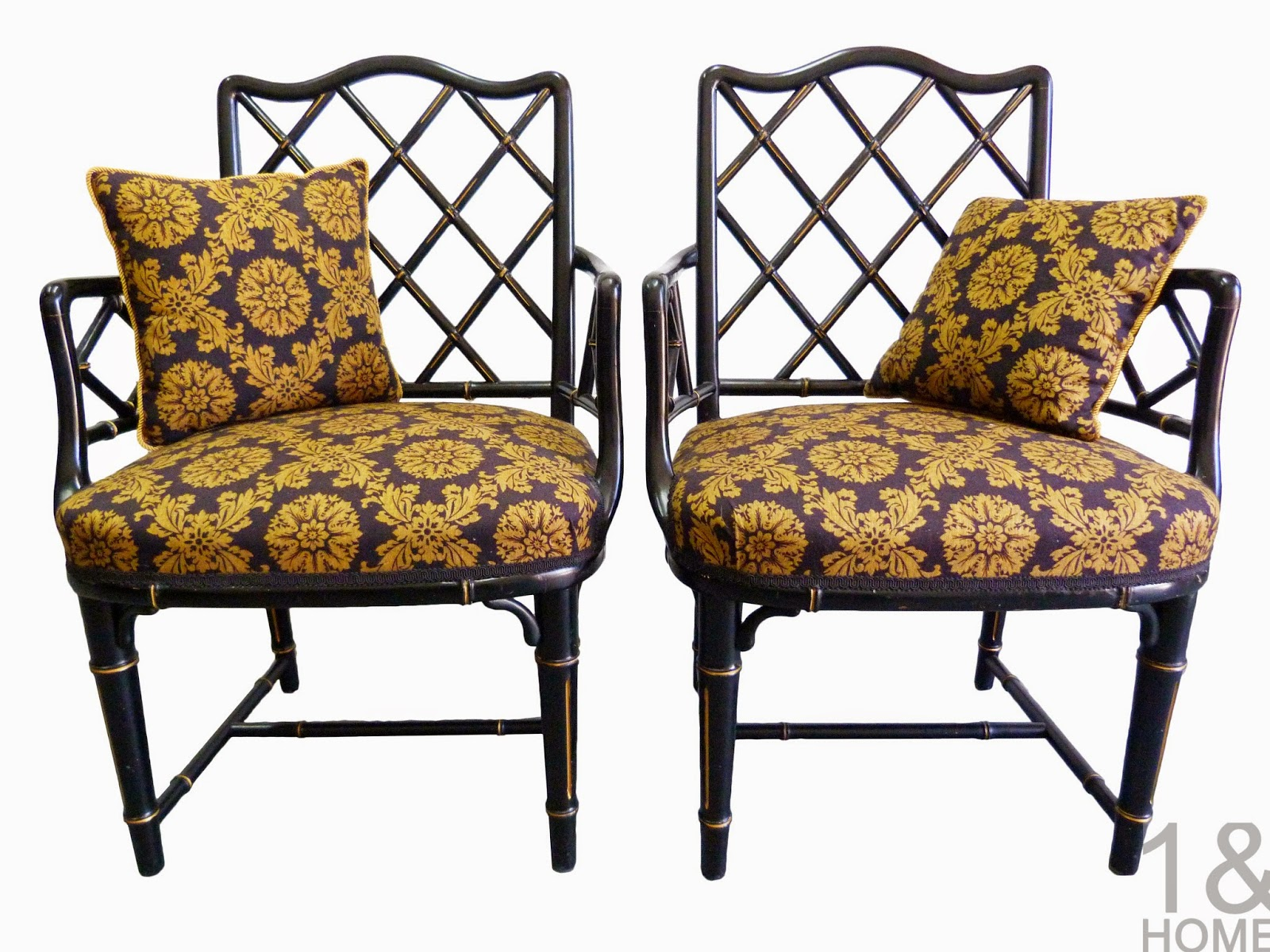 vintage chinese chippendale faux-bamboo black gilt ebonay lacquer armchairs chair
