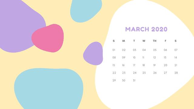 Calendario abstracto de marzo del 2020