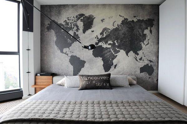 världskarta tapet svart vit tapet sovrum