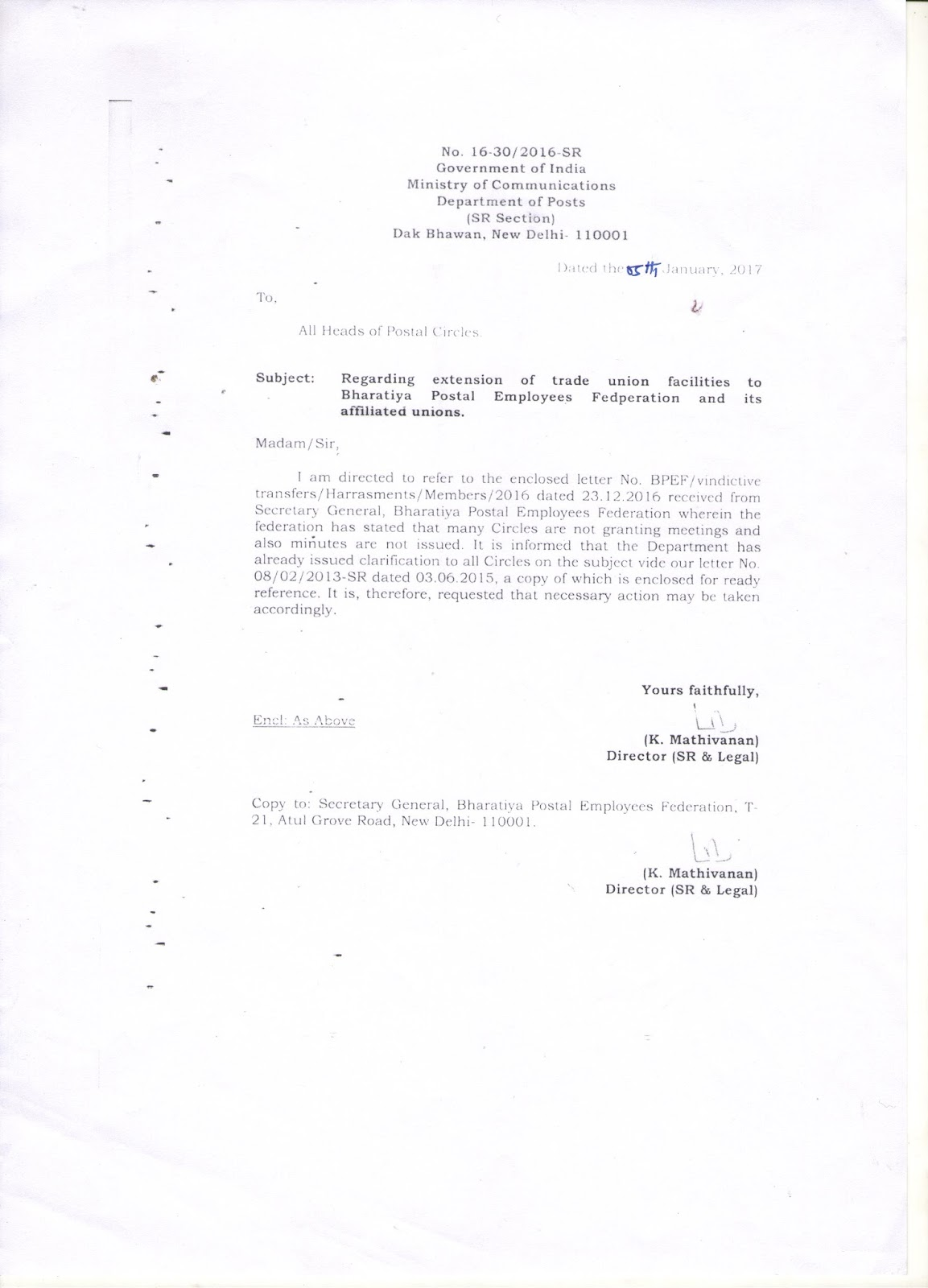 bharatiya postal employees federation regarding extension of trade union facilities to bharatiya postal employees federation and its affiliated unions
