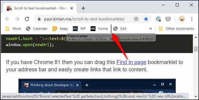 إضافة التطبيق المختصر Find in page إلى شريط أدوات الإشارات المرجعية في Chrome