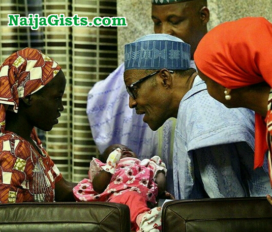 buhari message rescued chibok girl