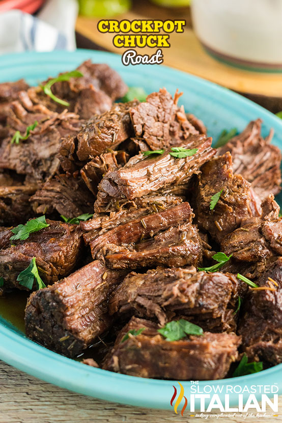 Crockpot chuck roast in a serving dish