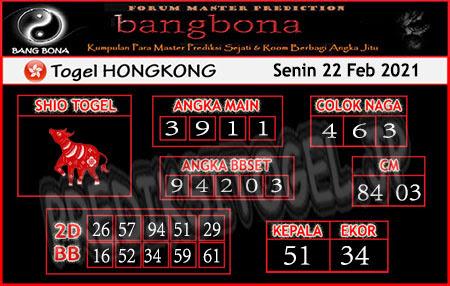 Prediksi Bangbona HK Senin 22 Februari 2021