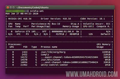 Mengecek Versi Driver Nvidia Ubuntu