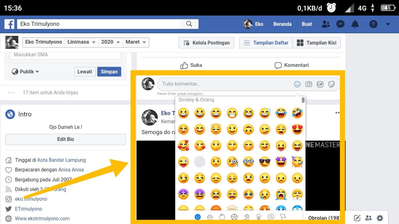 cara mengetik emoticon di facebook