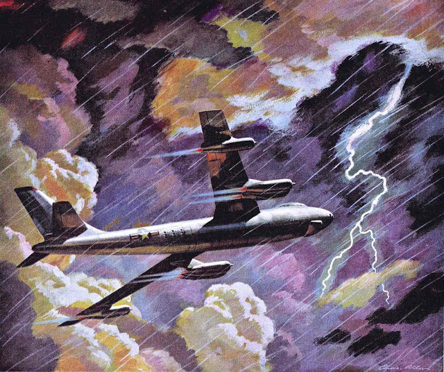 a Charlie Allen illustration of a passenger jet in stormy weather with lightning
