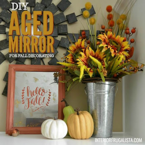 DIY Aged Mirror For Fall Decorating