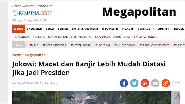 Janji Jokowi Bisa Atasi Banjir Jakarta saat Jadi Presiden Hanya Omong Kosong!