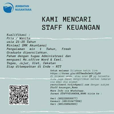 Lowongan Kerja Jembatan Nusantara Sebagai Staff Keuangan