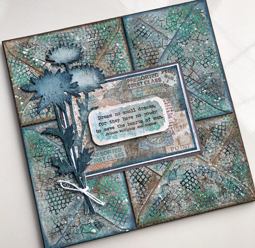 Envelope Art featuring PaperArtsy stamps (ECF04, EAB07, ESN24) and paints - with Tim Holtz Large Stems Bigz die.
