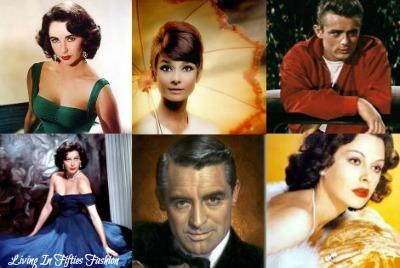 Collage of Old Hollywood Movie Stars including Elizabeth Taylor, Audrey Hepburn, Marlon Brando, Ava Gardner, Cary Grant, Hedy Lamarr