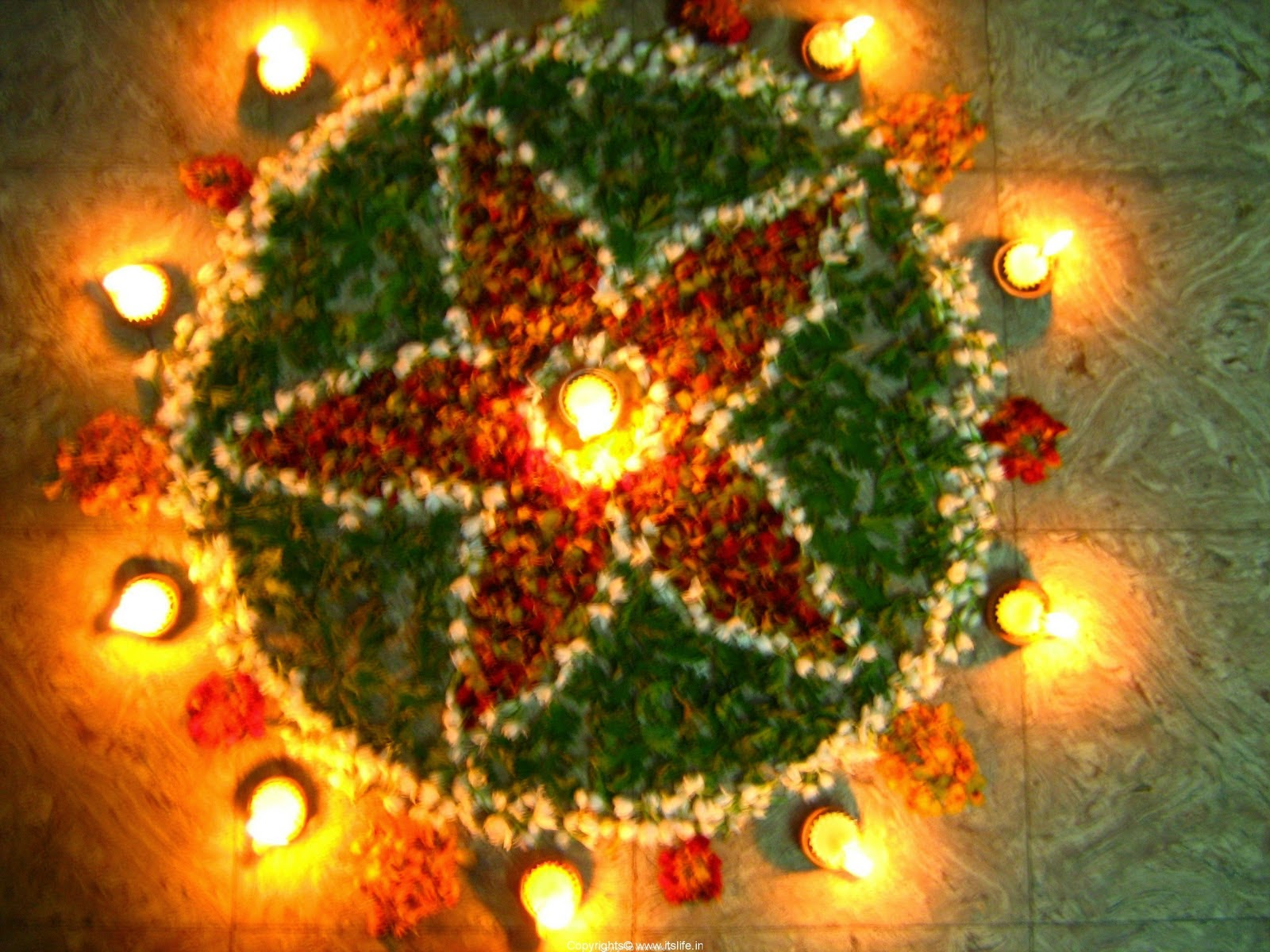 Floral Rangoli Designs with Diyas