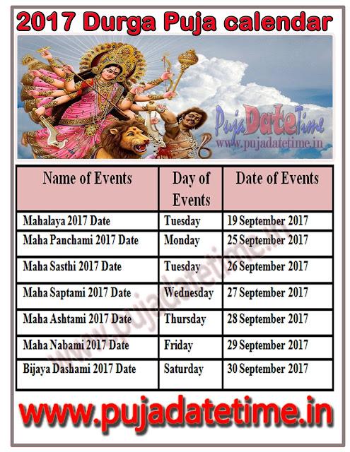 Durga Puja Calendar 2017
