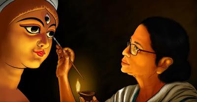 Mamata Banerjee painting Maa Durga