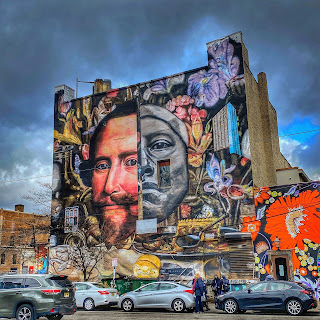 Street mural with image of Frederick Henry, Prince of Orange, in Jersey City