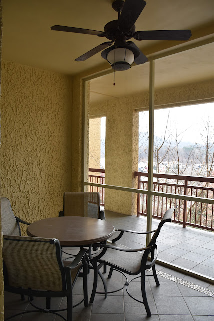 Outdoor patio at Riverstone Resort & Spa in Pigeon Forge, TN