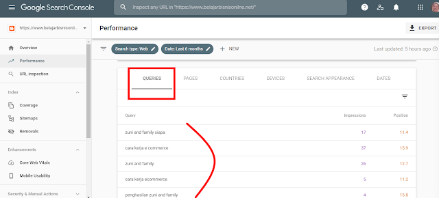 Queries Keyword di Performance Google Search Console
