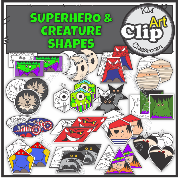 https://www.teacherspayteachers.com/Product/2D-Shape-Superhero-Creature-ClipArt-3403531