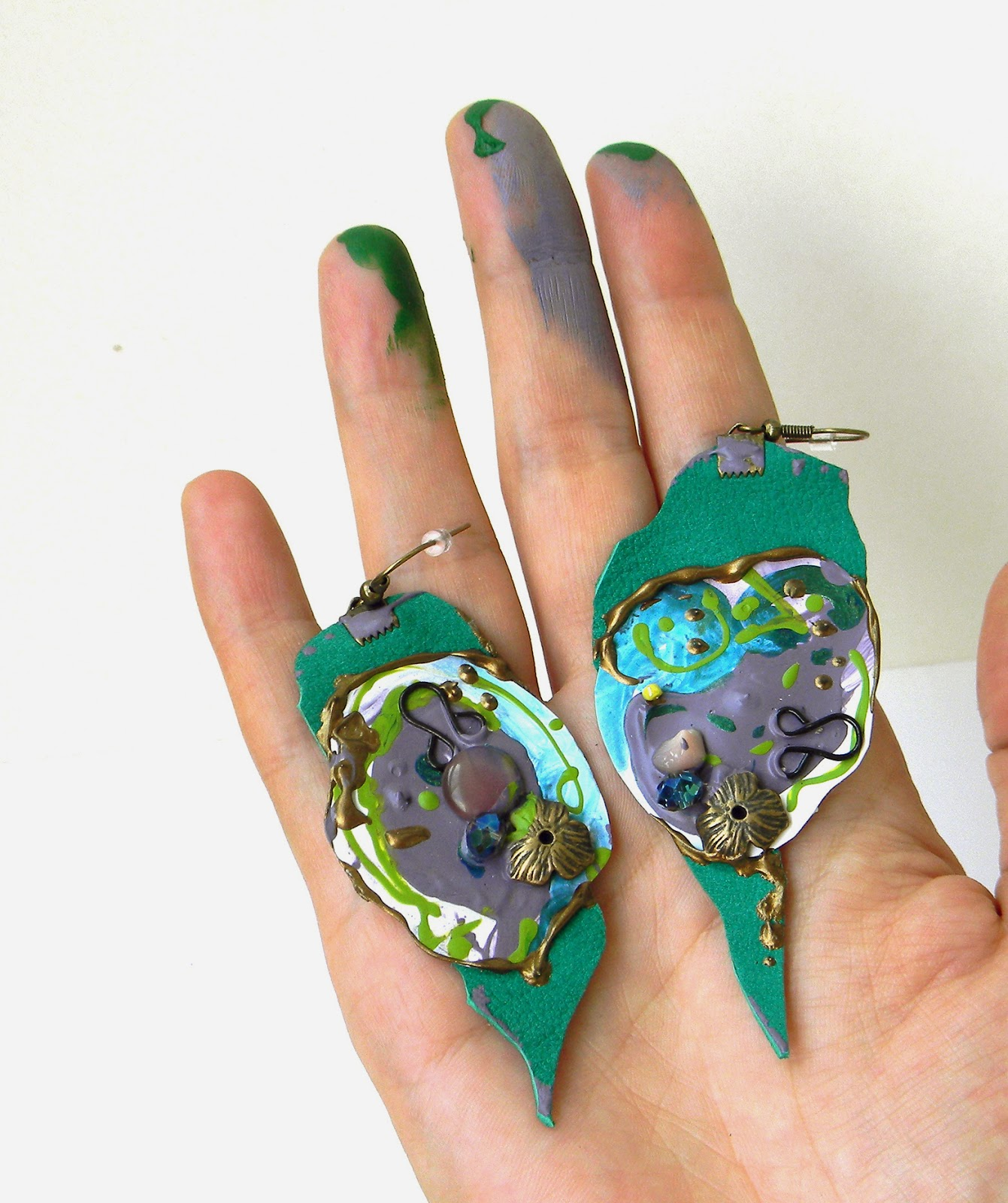 Hand Painted Earrings, Leather Art Jewelry, Steampunk Collage Earrings