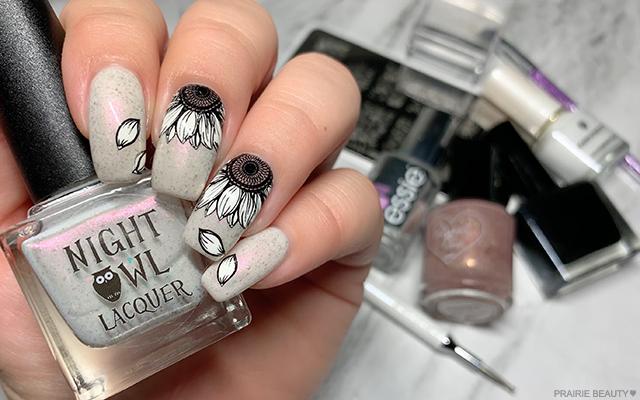 Prairie Beauty Nail Art Black White Sunflower Nails