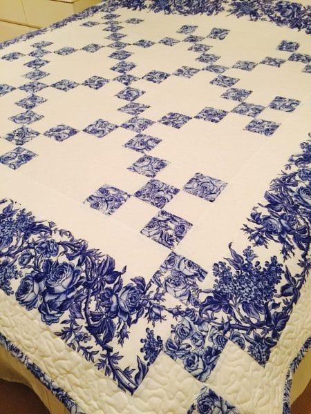 Delft Blue Chaining Nine Patch Quilt designed by Susie Stuklis of Susie's Scraps