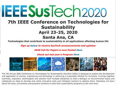 7th Annual IEEE SusTech 2020 is here locally in Santa Ana (Source: https://site.ieee.org/sustech/)