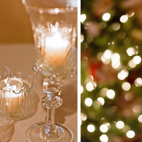 The crystal glassware sparkles near the Christmas tree lights.
