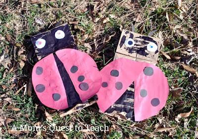 ladybug paper bag puppets
