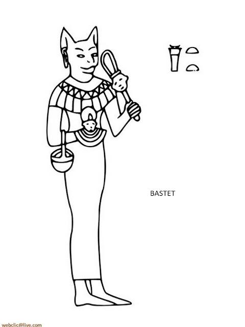 Bastet Deuses do Egito Antigo para Colorir