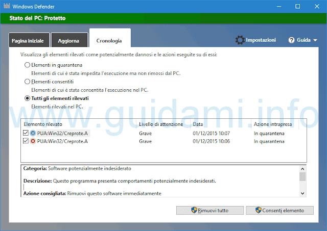 Windows Defender Tutti gli elementi rilevati