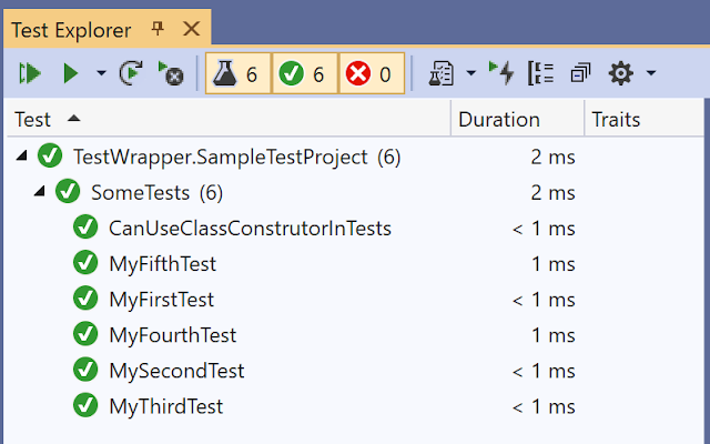 Examples of generated tests inside Test Explorer