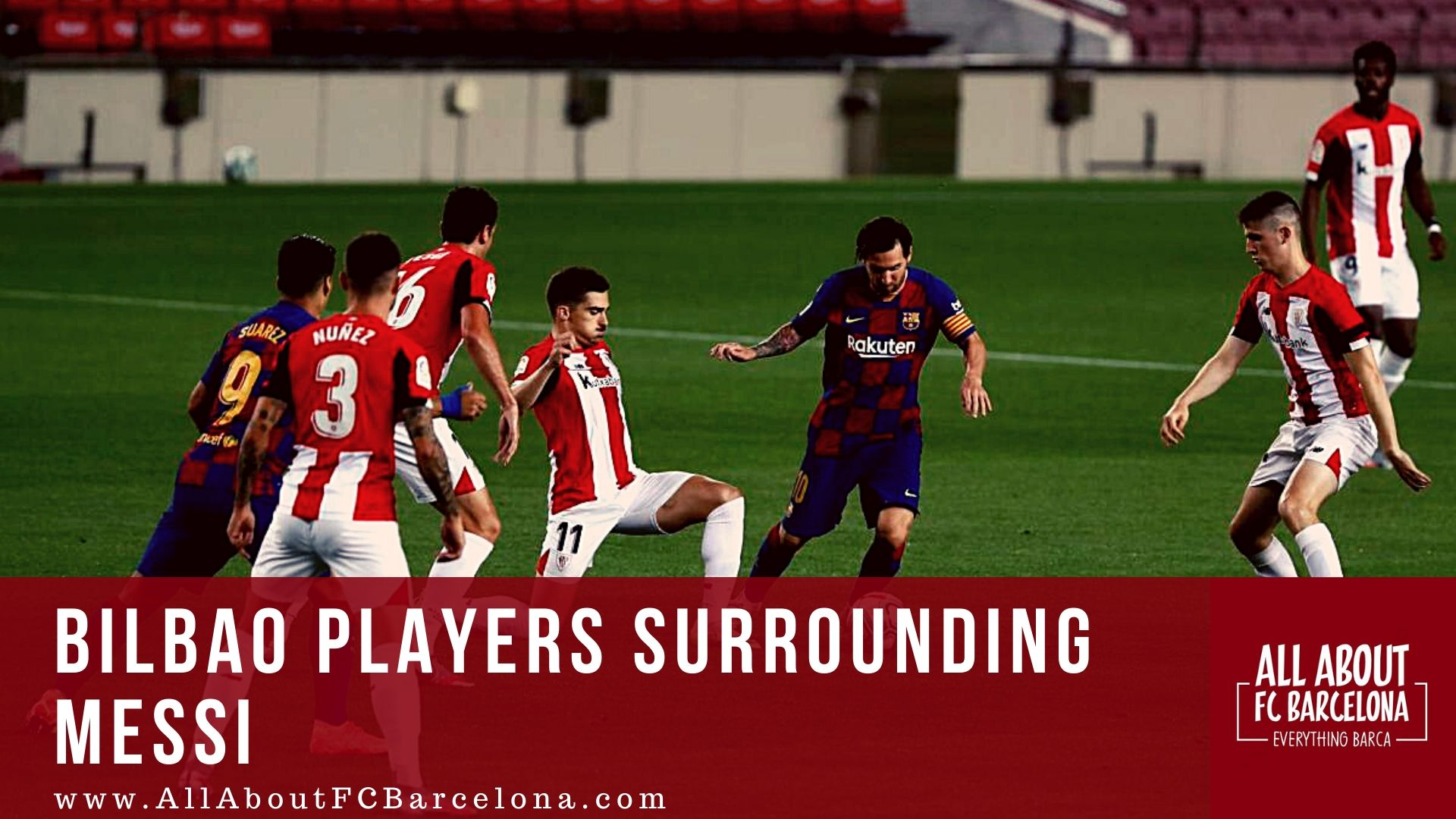Messi surrounded by lots of Athletic Bilbao Players