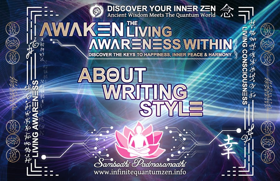About Writing Style - Infinite living system life the book of zen awareness, alan watts mindfulness key to happiness peace joy