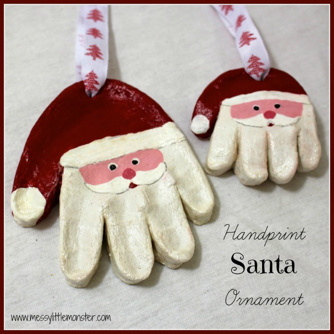 Santa handprint salt dough ornament. Kids Christmas craft ideas for babies, toddlers and preschoolers. A cute keepsake or homemade gift idea.