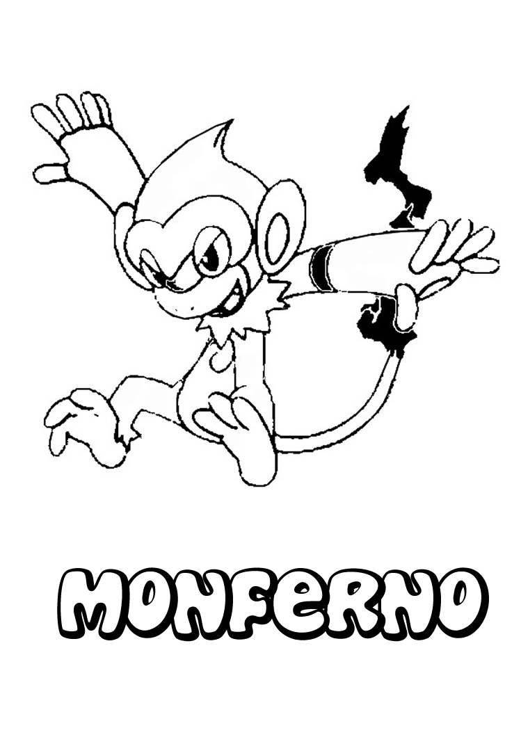 pokemon fire monkey coloring pages | POKEMON COLORING PAGES