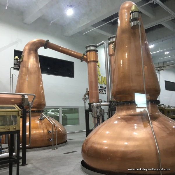 copper stills at Kavalan Whisky distillery in Yilan, Taiwan