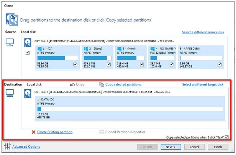 pilih disk to clone to