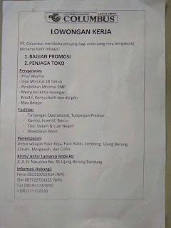 Lowongan Kerja 2020 Daerah Pasir Koja, Pasir Kaliki, Lembang, Ujung Berung, Cimahi, Margaasih, dan Cililin di PT Columbus
