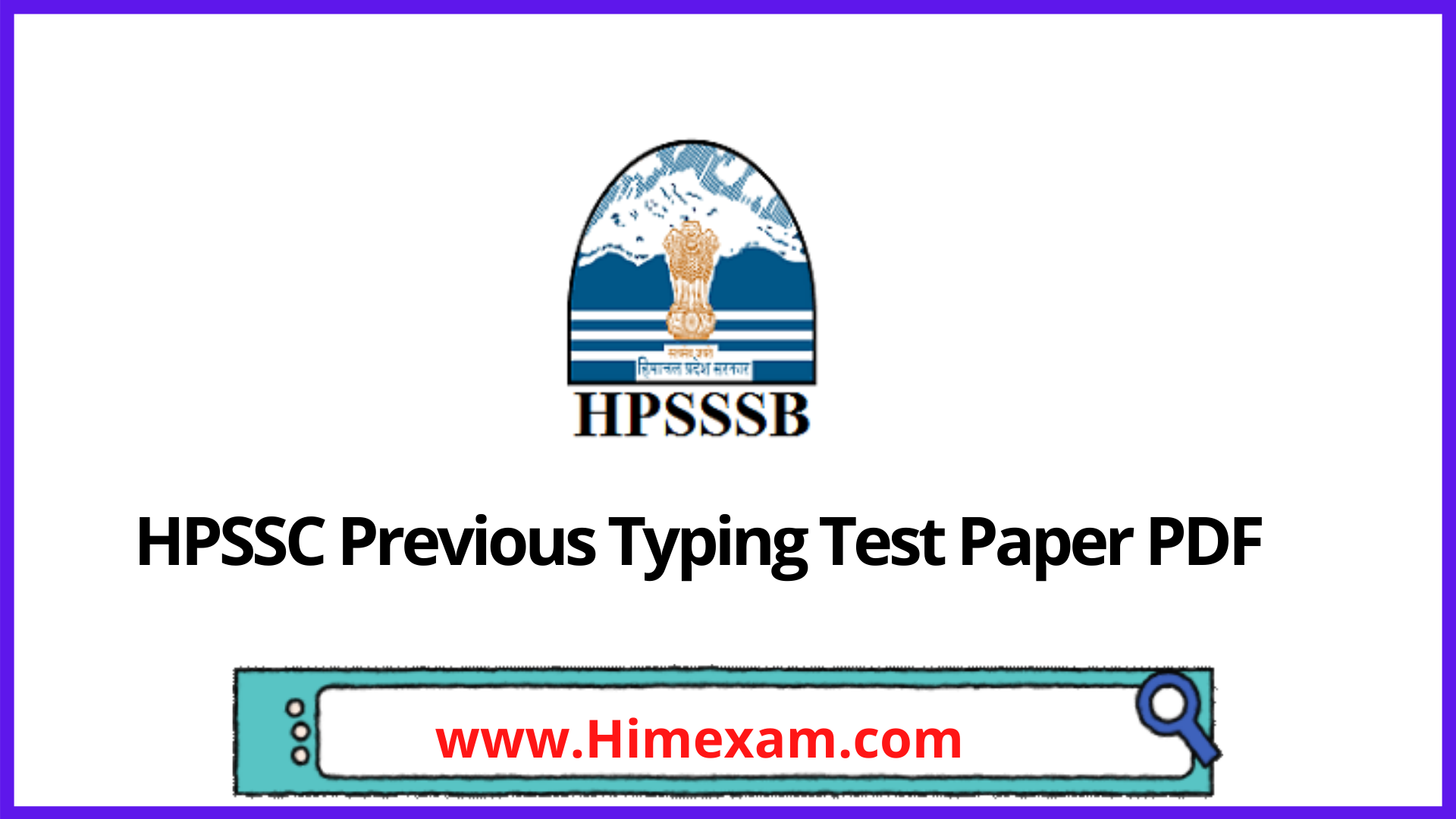 HPSSC Previous Typing Test Paper PDF