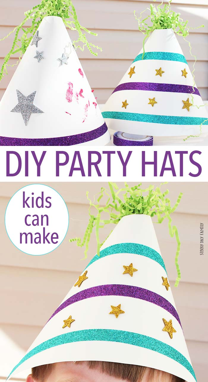 Make your own party hats! This is a fun kids craft for parties & holidays. Perfect for kids' birthday parties - make a party hat decorating station for a fun party activity! Or create your own party hats for any celebration. Super fun and really easy!