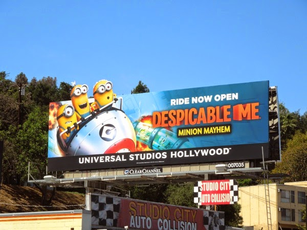 Despicable Me Minion Mayhem ride open Universal Studios Hollywood billboard