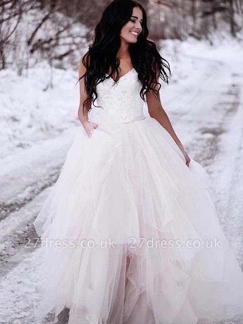 Ruched A-Line Floor-Length Tulle Cheap Sleeveless V-neck Wedding Dresses UK