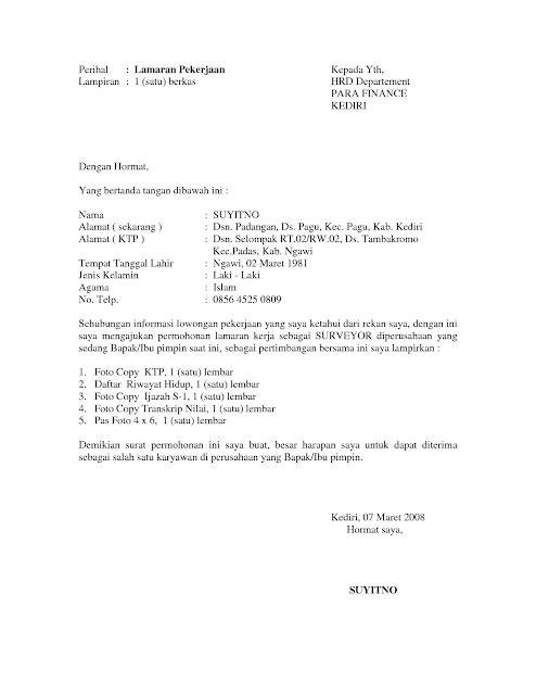 surat lamaran kerja doc