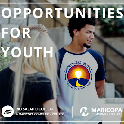 Photo of young people gathering.  Text: Opportunities for Youth.  Rio Salado and Maricopa Community Colleges logos.  OFY logo