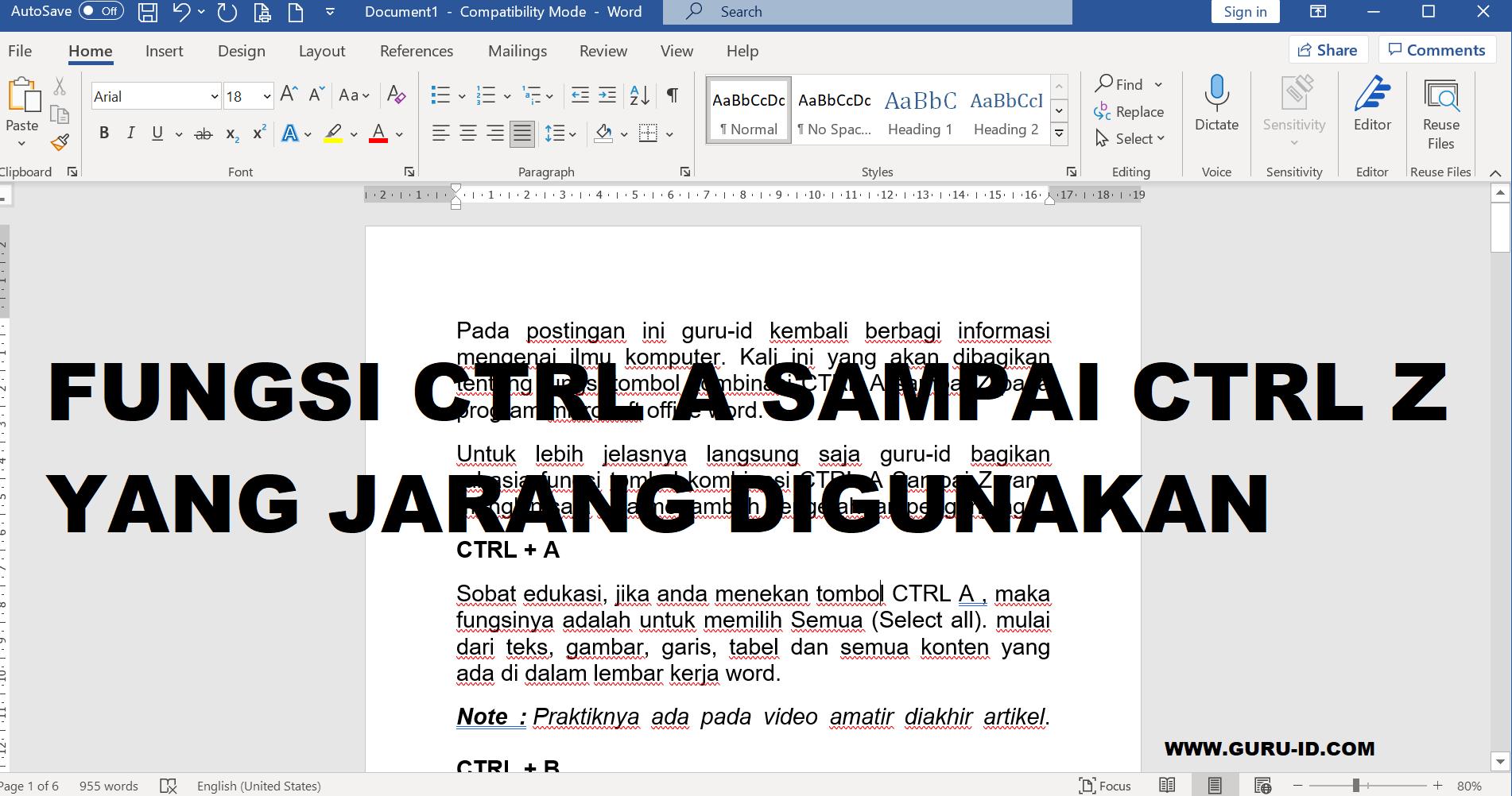 gambar fungsi ctrl A sampai ctrl Z pada word