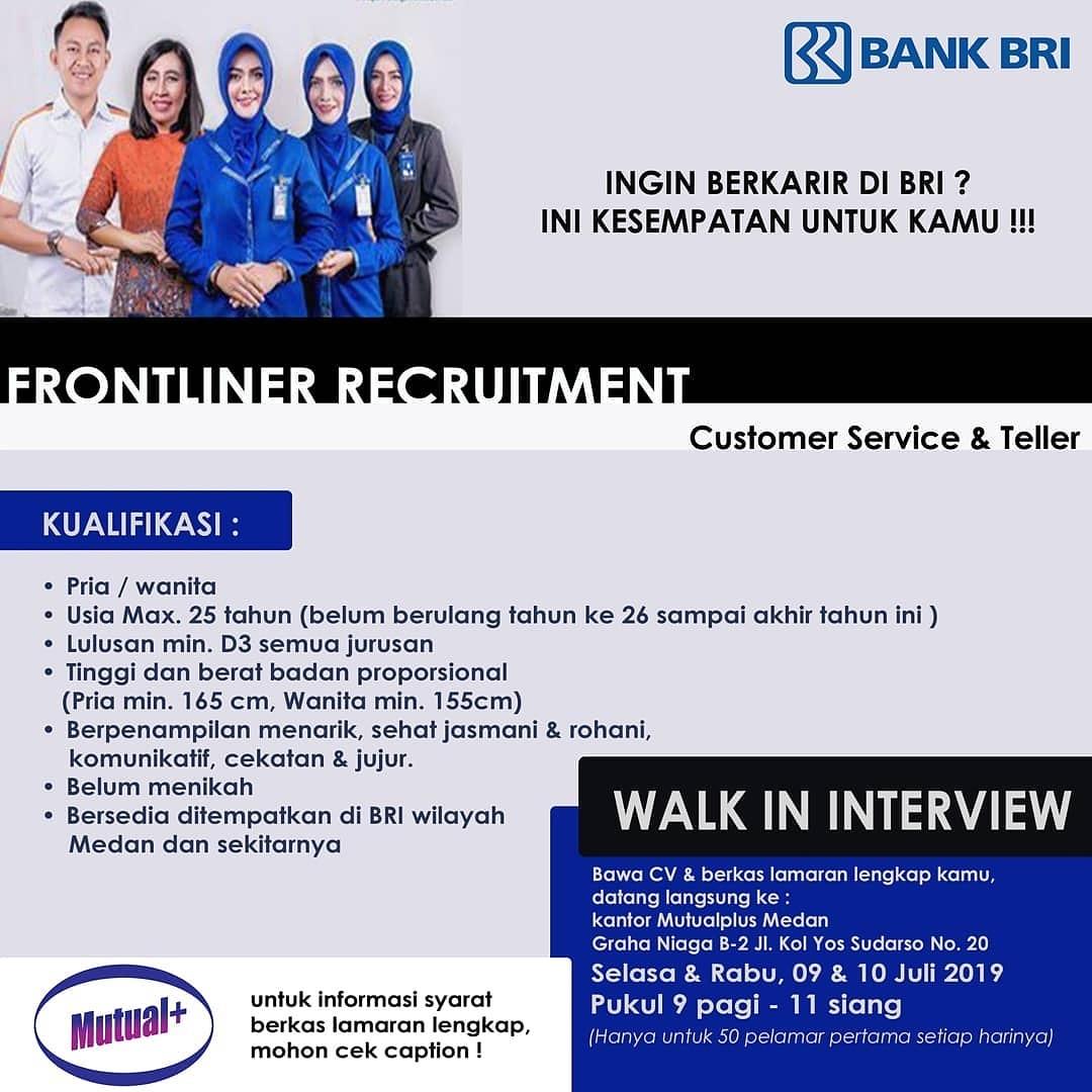 Lowongan Kerja Pt Bank Bri Cabang Medan Juli 2019 Lowongan Kerja Medan Terbaru Tahun 2021