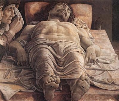 """""""A lamentação sobre o Cristo morto"""" (circa 1474), pintura de Andrea Mantegna (1431-1506) pertencente ao acervo da Pinacoteca de Brera em Milão, Itália."""