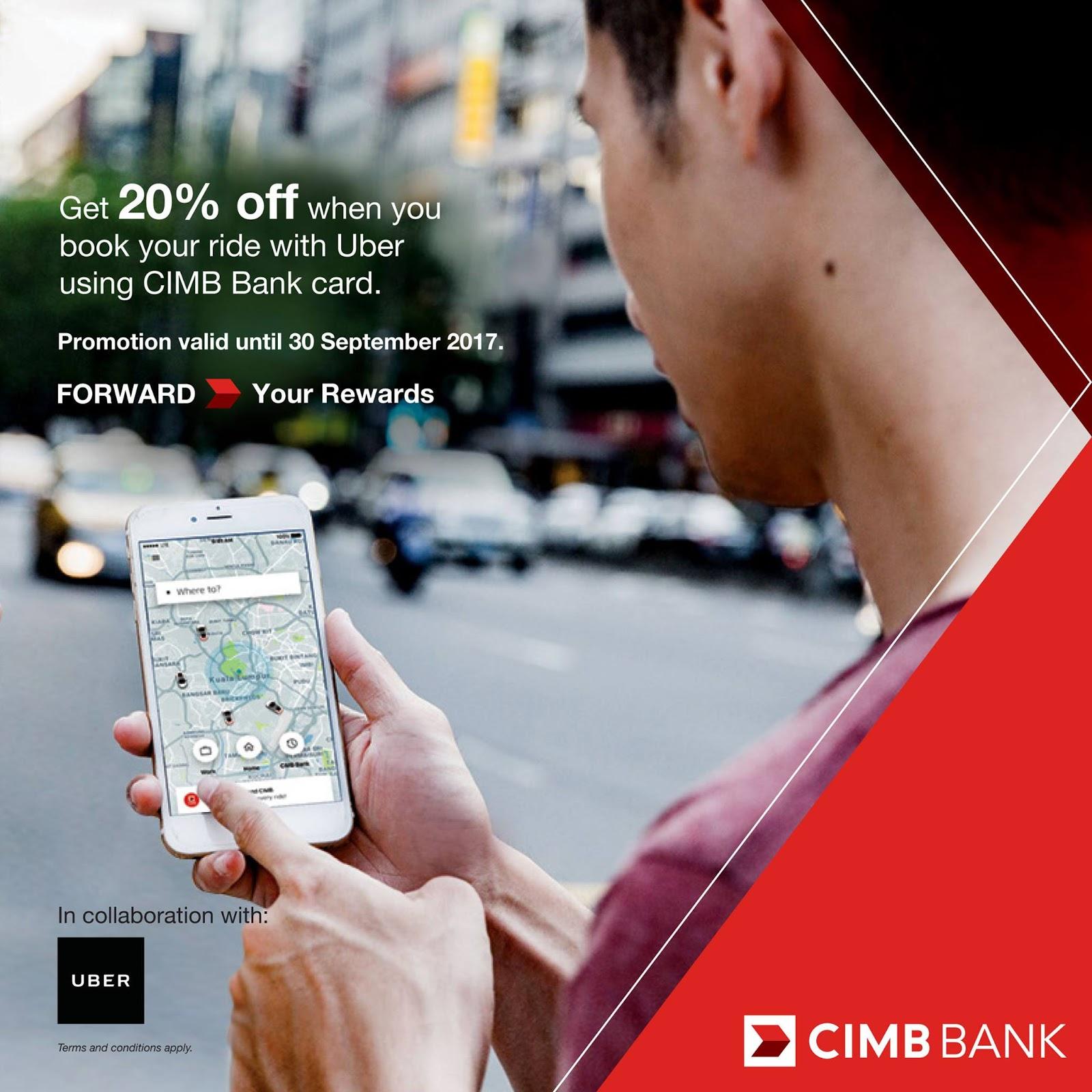 Uber Promo Code 20% Discount x 20 Rides Using CIMB Bank