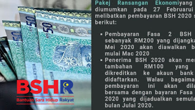 Tarikh Bayaran BSH Tambahan RM100 dan Fasa 3 Mulai Julai 2020